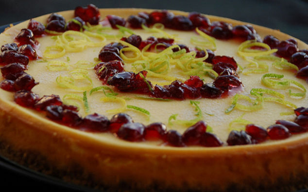 Cheesecake alle mele verdi e melagrana